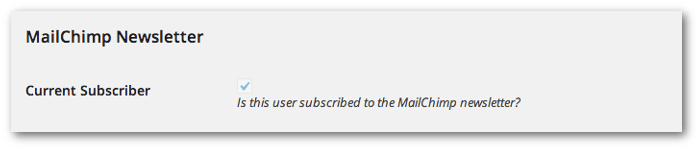 Screengrab of the MailChimp Newsletter section on the User Profile screen showing whether the user is a subscriber or not