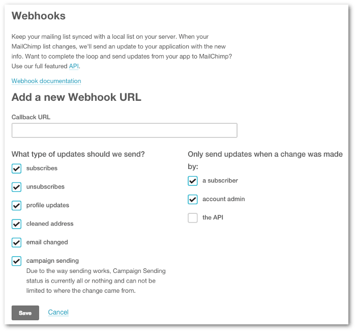 Screenshot of the webhook configuration form on MailChimp