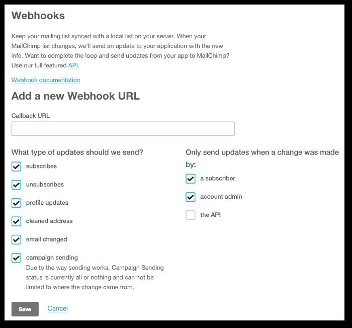 Screenshot of the webhook configuration form on MailChimp