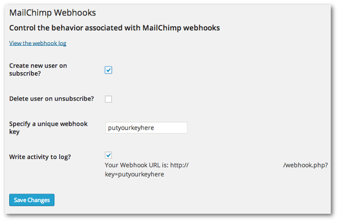 Screenshot of the WordPress Webhooks plugin's settings page