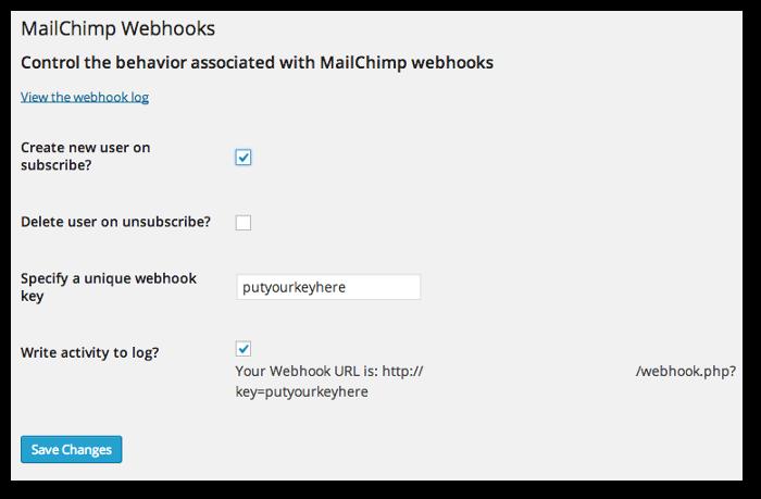 Screenshot of the WordPress Webhooks plugin's settings page