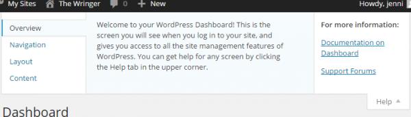 Admin Help Content plugin