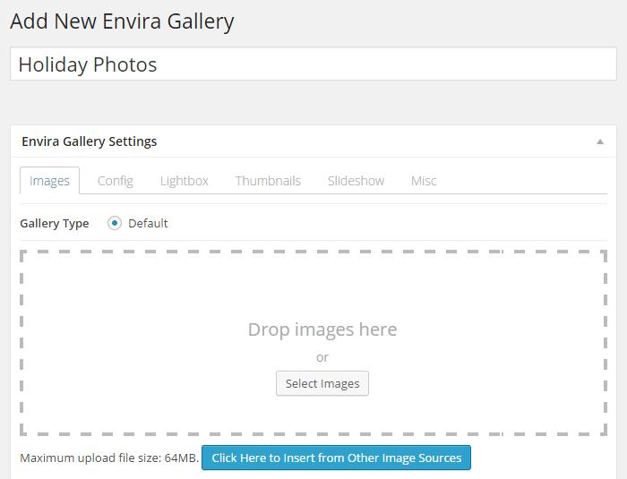 Add New Envira Gallery