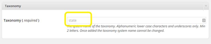 Taxonomy name