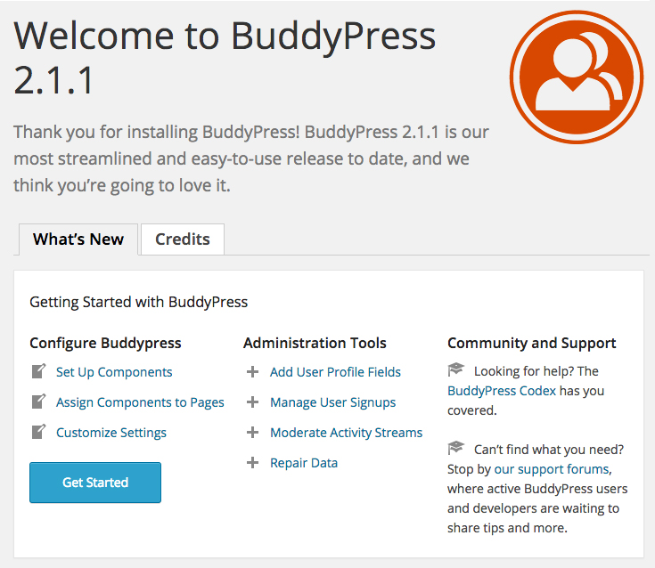 The BuddyPress welcome screen