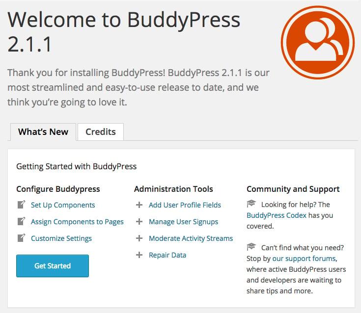 The BuddyPress welcome screen