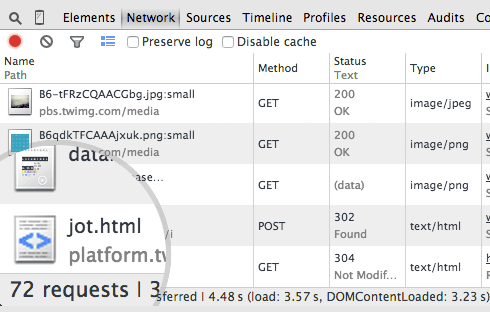 Screenshot of the network requests shown in Google Chrome Developer Tools.
