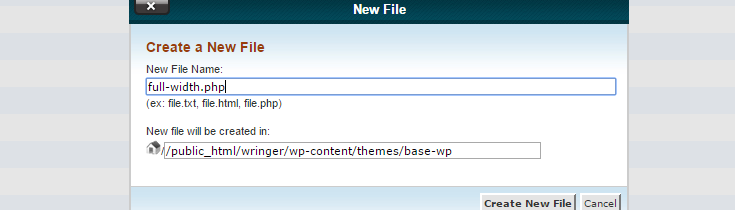 "A file name has been entered in the ""New File"" pop up in cPanel with the same file path as the other page templates"