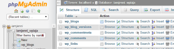 Your tables are loaded in phpMyAdmin when your database name is clicked in the menu