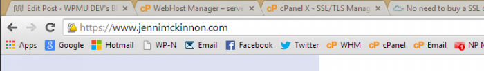 A yellow yield sign appears in the address bar for sites with an insecure SSL certificate