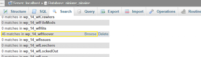 Search results page in phpMyAdmin with the number of matches listed on the left of each table