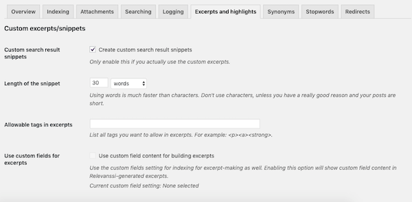 Enable custom excerpts that show the relevant part of post in the search results pages