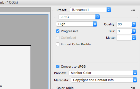 Typical settings for saving a JPG image.
