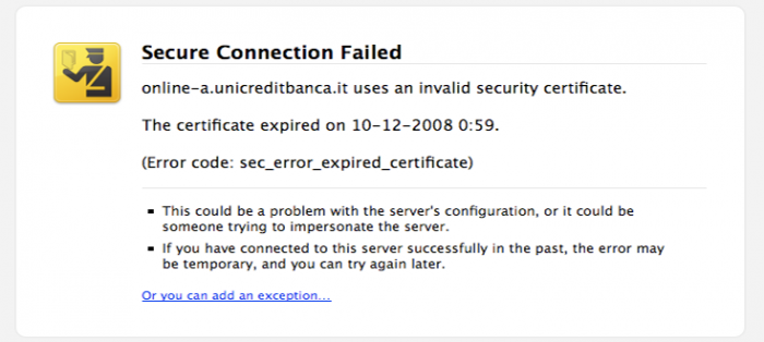 A browser warning of an expired SSL certificate before proceeding to site.