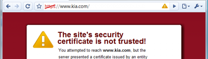 An example of a browser warning of an invalid SSL certificate before going to site.