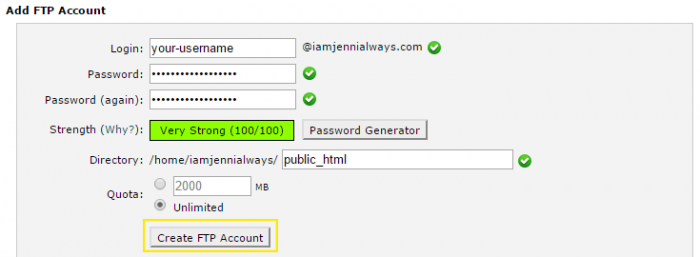 The username, password, directory and quota fields have been filled out to create a new FTP account in cPanel