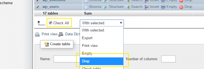 "The ""Check All"" box is selected in phpMyAdmin and the ""Drop"" option is being selected in the dropdown box next to it."