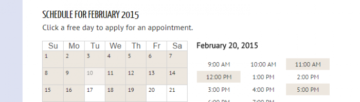 An Appointments + booking calendar with a date selected and available times have appeared.