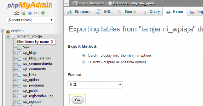 "On phpMyAdmin's ""Export"" screen, the quick export method is selected with a radio box and the format is automatically set to ""SQL."""