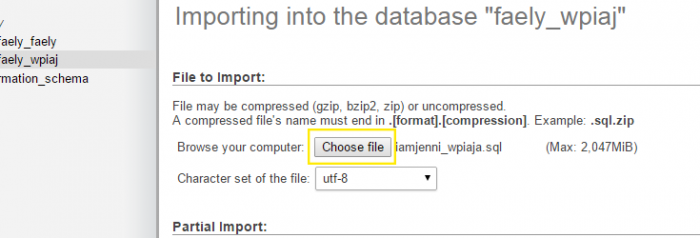 "In phpMyAdmin's ""Import"" tab, the ""Choose file"" button has been clicked and a database file has been selected and opened."