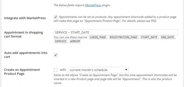 "The MarketPress options within the Appointments + plugin settings. The checkbox for ""Integrate with MarketPress"" is selected."