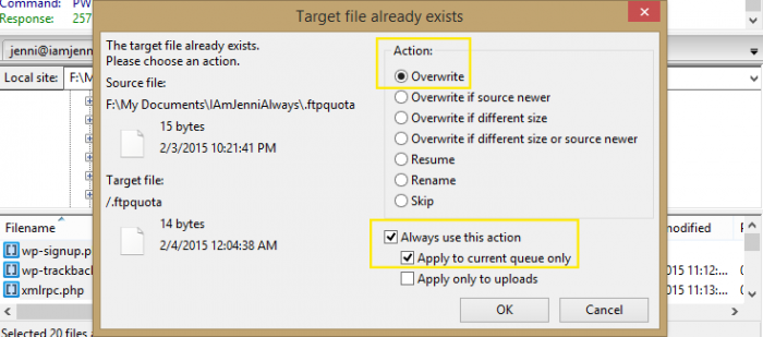 "A pop up that appears in FileZilla when uploading your site to replace the fresh install. The ""Overwrite"" radio button is selected under ""Action"" and the check boxes ""Always use this action"" and ""Apply to current queue only"" are checked."