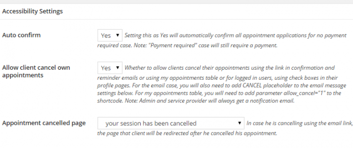 "The accessibility settings are shown and the option to allow customers to cancel their own appointments is set to ""yes"" and a cancellation page has been selected."