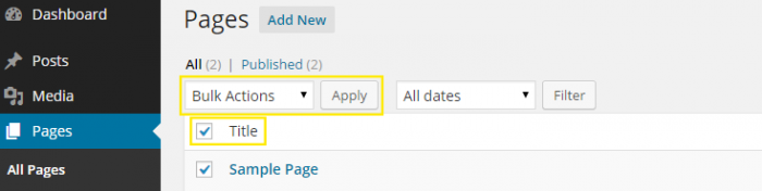 "The ""Title"" check box has been selected on the ""Pages"" admin menu page and the ""Bulk Actions"" drop down box above it is highlighted."