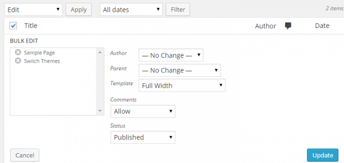 "The bulk edit section has been revealed and the pages to edit are shown on the left under the title ""Bulk Edit."" The template is set to ""Full Width,"" comments have been allowed and the status of these pages have been set to ""Published."" The ""Author"" and ""Parent"" elements have been left to acquire no change."