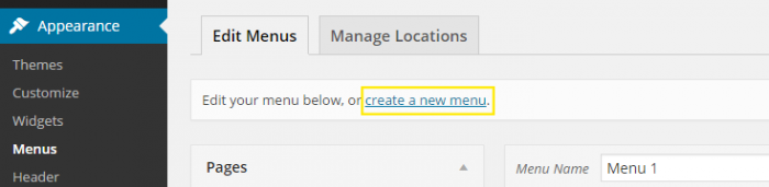 "The ""create a new menu"" link at the top of the ""Menus"" page under ""Appearance"" in the dashboard."