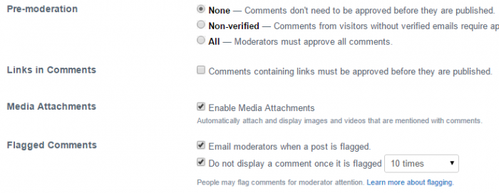 A selection of general Disqus settings including pre-moderation, media attachments and flagging comments