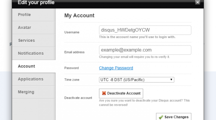 "The profile editing pop up on the Disqus member's area with the ""Account"" tab selected and the username listed."