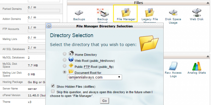"After selecting the ""File Manager"" icon on the cPanel home page, a pop up appeared and a selection has been made for the document root of a specific site."