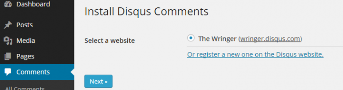 The final step in the installation of Disqus comments to a site. You are asked to select the site you wish to add Disqus to from a list of pre-registered sites.