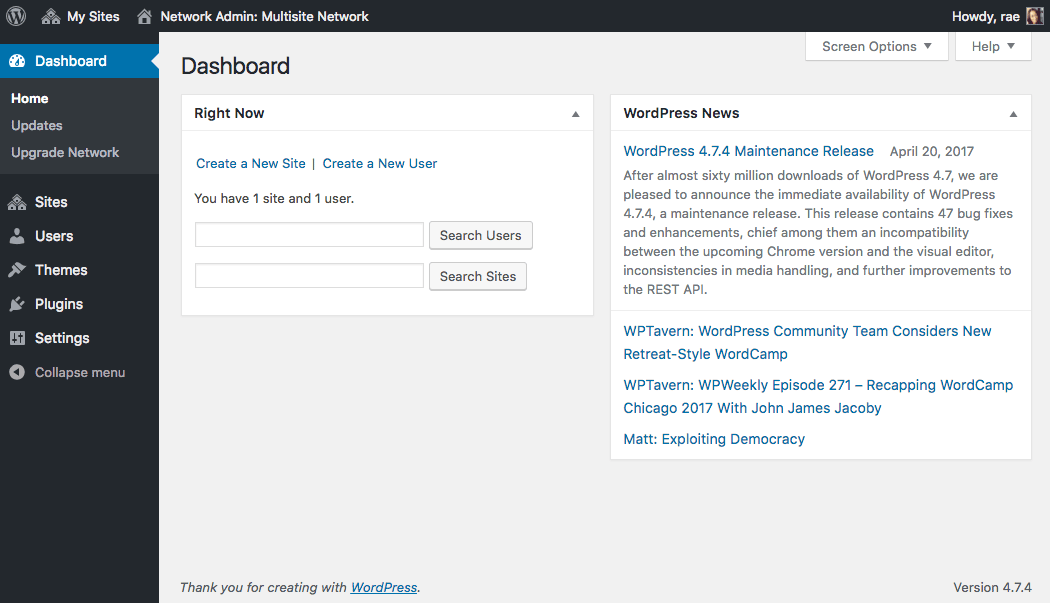 The WordPress Multisite Dashboard.