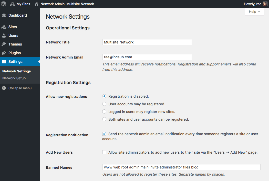 Multisite network settings.
