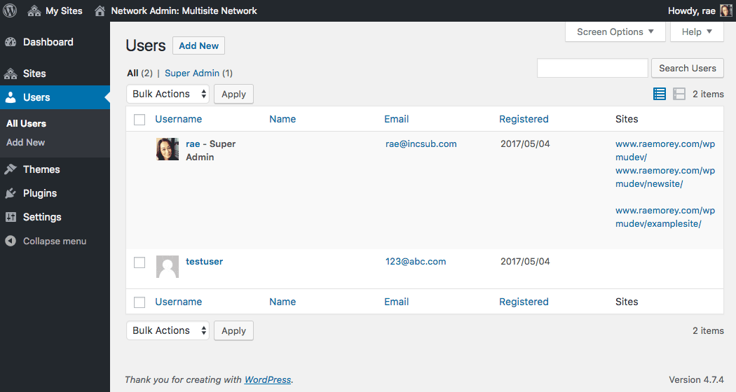 Adding users to your network.