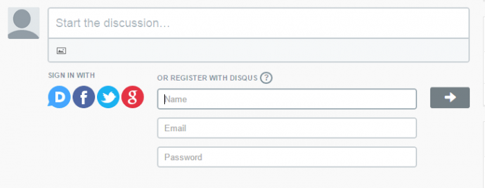 Under a Disqus comment box, log in options are available or otherwise you can create a Disqus account by only entering your name, email and desired password as shown in this image.