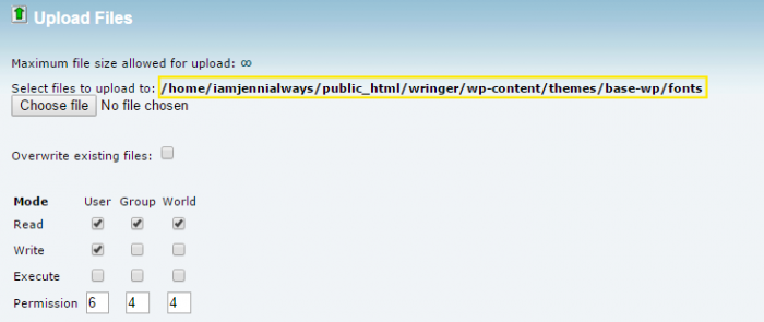 """A screenshot of the """"Upload Files"""" page in cPanel. The upload file path is highlighted."""