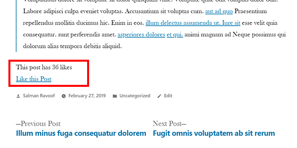 """Screenshot showing our simple post like counter on the frontend of a post. """"Like this post"""" link that increases the count each time you click it."""