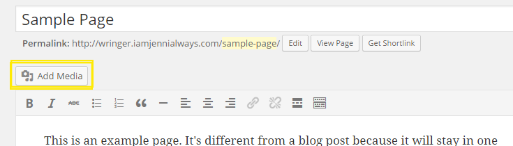 "The ""Add Media"" button above the visual editor for a sample page. Above the button is the permalink for the post and title field."