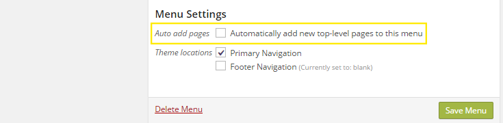 "The ""auto add pages"" checkbox is highlighted, but not checked in the ""Menu Settings."""