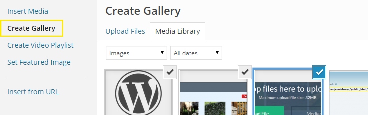 "The ""Create Gallery"" link has been clicked and three images have been selected from the media library."
