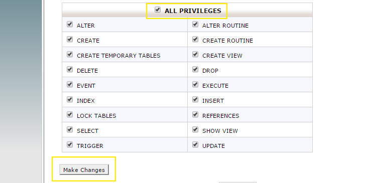 "The ""All Privileges"" checkbox has been selected and the ""Make Changes"" button is highlighted."