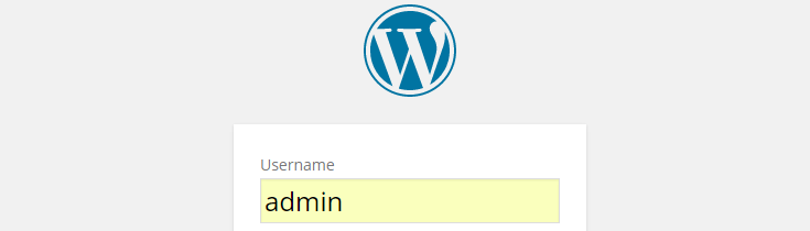 """Admin"" has been entered into the username field in the login form on the wp-login.php page."