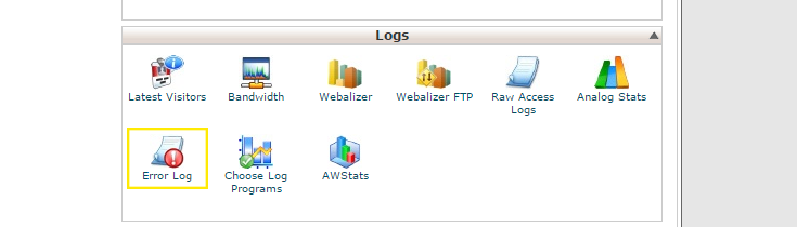 "The ""Logs"" section in cPanel's home page. The ""Error Log"" button is highlighted."