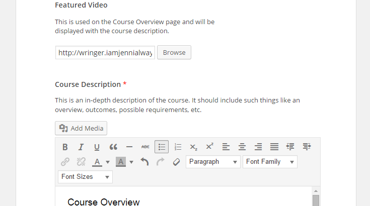 "In step two, the feature video has been selected and a ""Course Overview"" title has been added to the ""Course Description"" section."