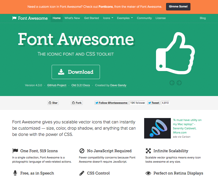 Font Awesome - the iconic font and CSS toolkit. Website home page.