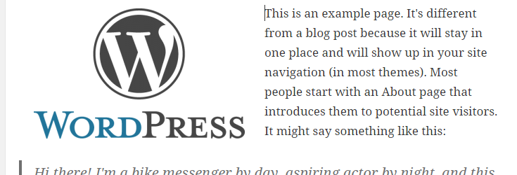 A WordPress logo in the editor with left alignment. Sample text is positioned around the image on the right.