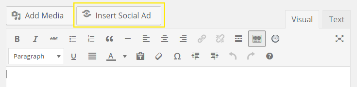 "The Social Marketing ad button next to the ""Add Media"" button in the page editor."